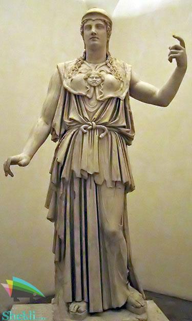 مجسه آتنا الهه خرد یونان باستان